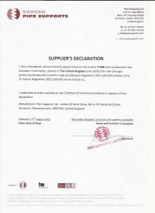 Supplier declaration